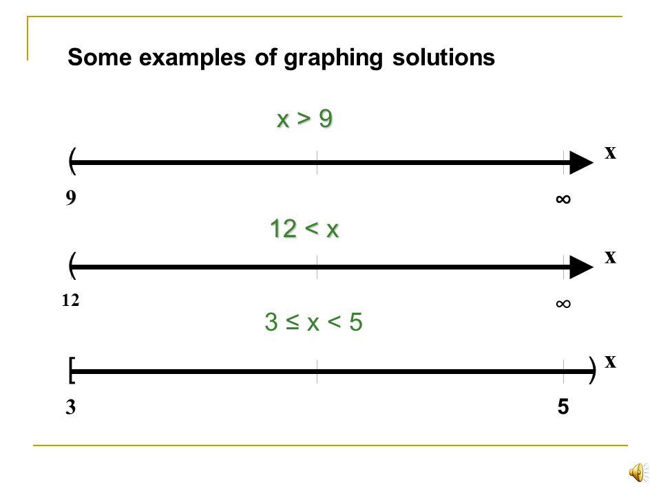 ( ( [ ) x > 9 x ∞ 12 < x x ∞ 3 ≤ x < 5 x